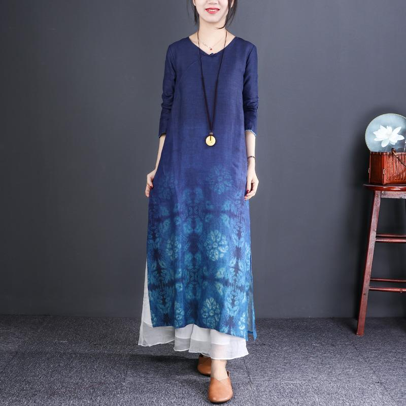 Style blue print linen clothes For Women Fine Work Outfits v neck linen robes Dresses