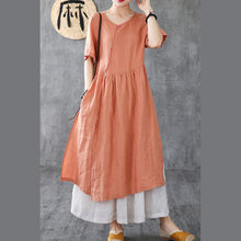 Load image into Gallery viewer, Style brown linen clothes For Women o neck pockets Maxi Dress