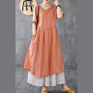 Style brown linen clothes For Women o neck pockets Maxi Dress