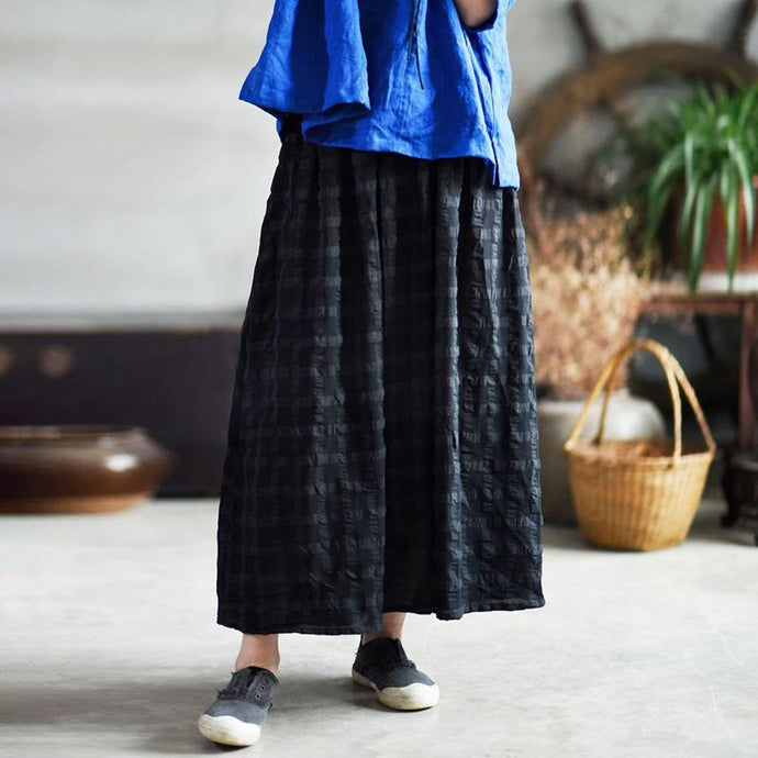 Style cotton Wardrobes Omychic Casual Loose Cotton Plaid Pleated Skirt