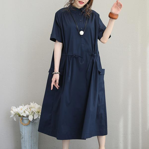 Style cotton clothes For Women plus size Solid Turn-down Collar Midi blue Short Sleeve Dress