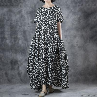 Style cotton clothes Women Korea Polka Dot Lacing O-Neck Maxi Dress