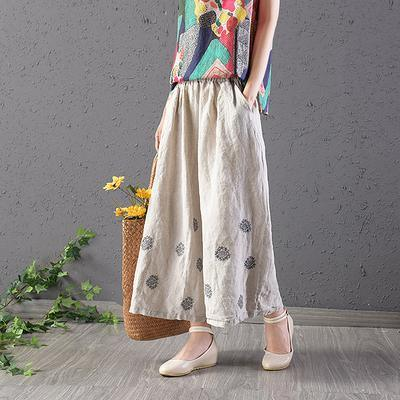 Style cotton plus size Vintage Cotton Linen Nude Embroidery Ankle-Length Pants