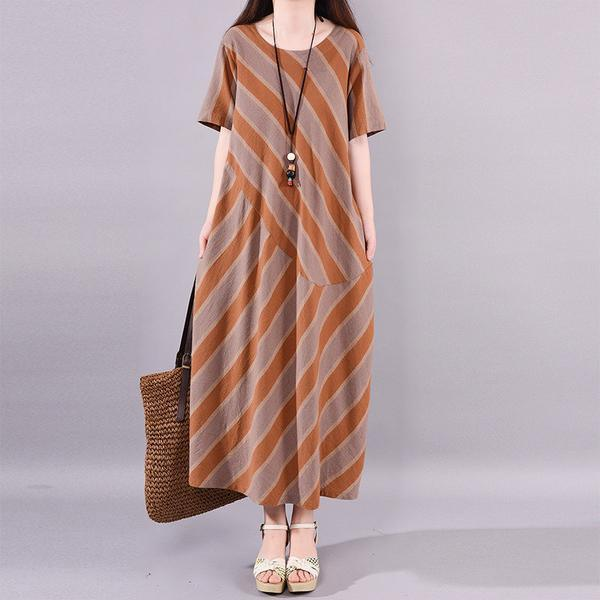 Style cotton tunics for women Stripes Summer Loose Cotton Dress