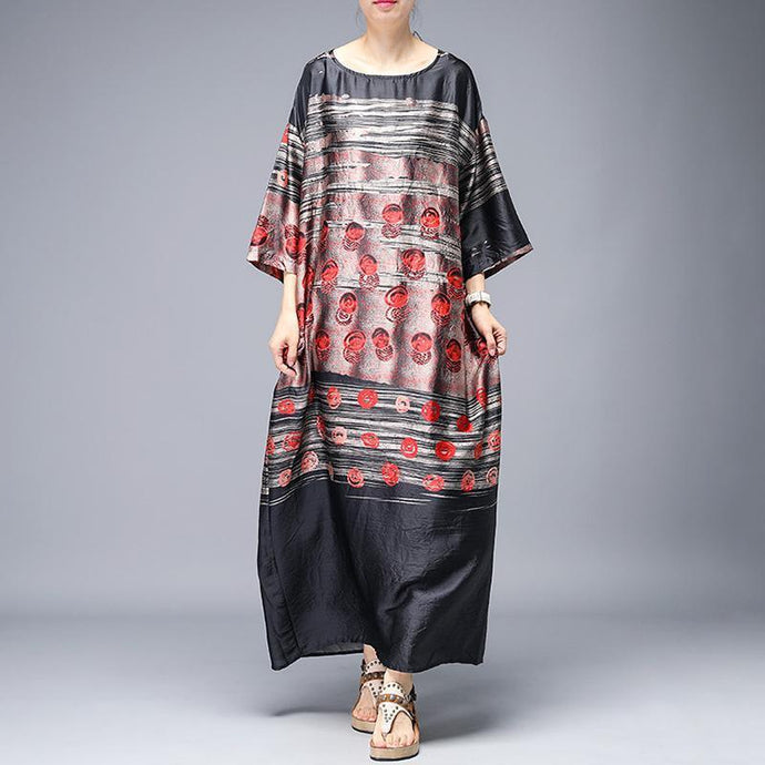 Style dresses top quality Vintage Print Round Neck Half Sleeve A-Line Dress