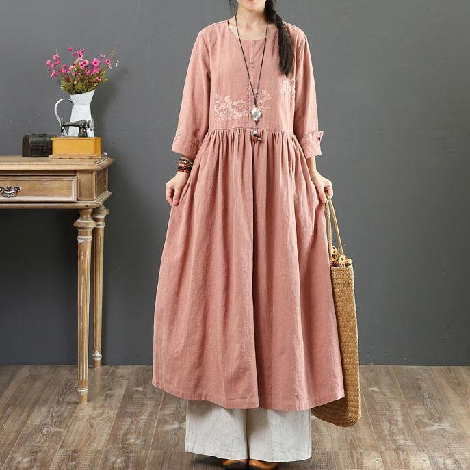 Style embroidery o neck cotton dresses Fabrics nude Dresses summer