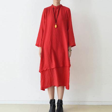 Style false two pieces cotton dresses Sewing red Dress fall