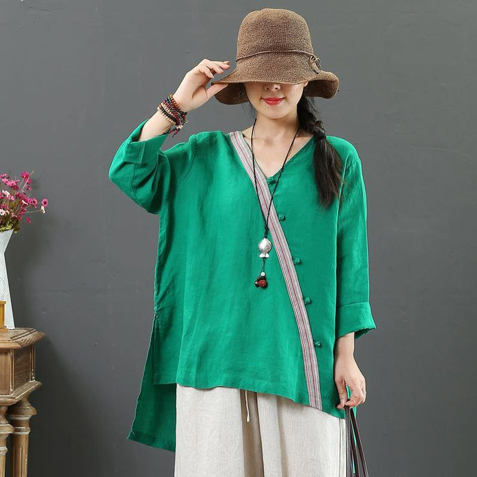 Style green linen clothes v neck side open Vestidos De Lino fall blouse