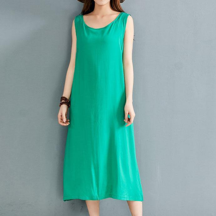 Style green linen dresses o neck sleeveless Plus Size Clothing summer Dresses