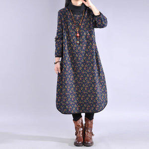 Style high neck cotton winter clothes Fabrics blue prints cotton Dress