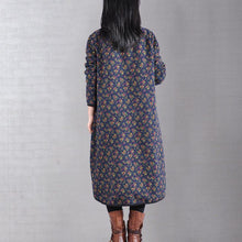 Load image into Gallery viewer, Style high neck cotton winter clothes Fabrics blue prints cotton Dress
