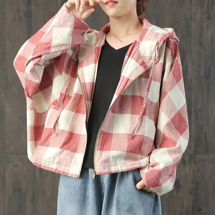 Style hooded Batwing Sleeve linen Blouse Wardrobes red Plaid coats fall
