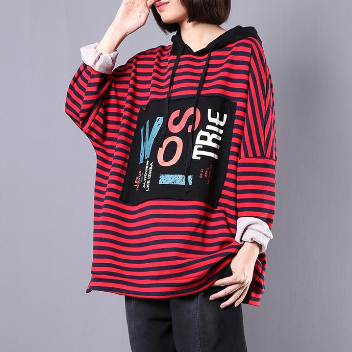Style hooded cotton clothes For Women Sewing red striped blouses fall