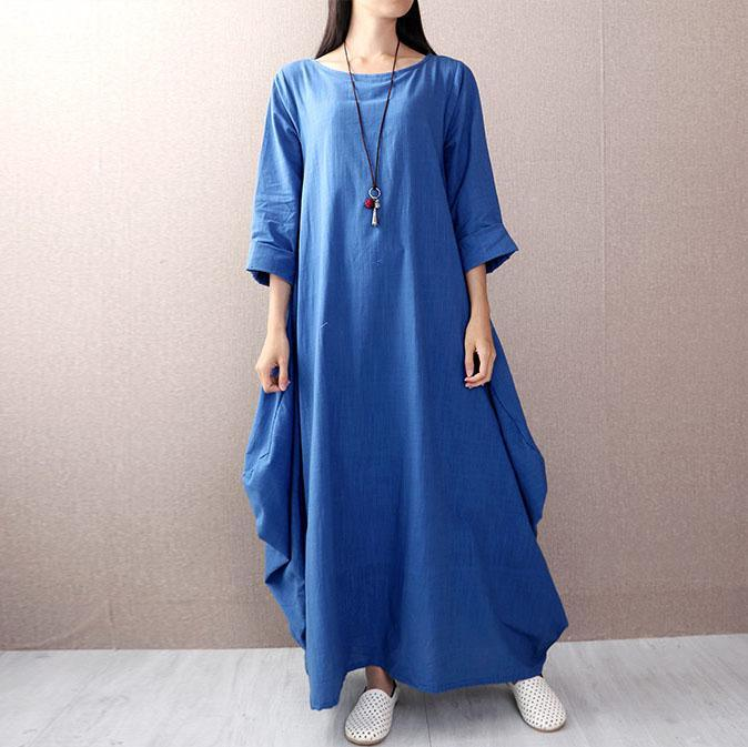 Style long sleeve linen dress Tunic Tops blue Dress autumn
