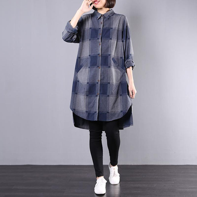 Style low high design Cotton Tunics Wardrobes blue plaid Dresses fall
