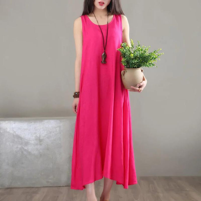 Style o neck cotton clothes Runway rose Maxi Dresses sleeveless summer