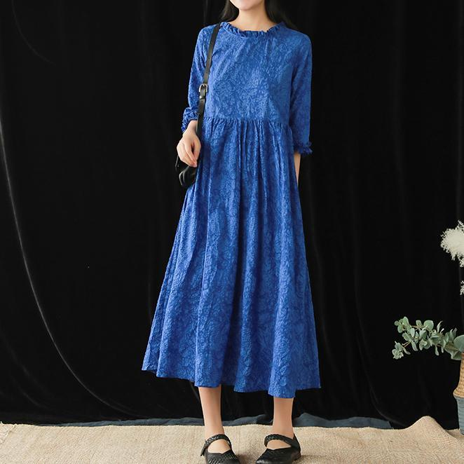Style o neck jacquard cotton quilting clothes Catwalk blue long Dresses summer