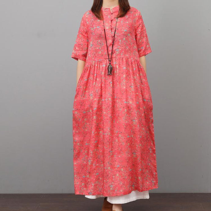 Style o neck linen clothes Sleeve red floral Dresses summer