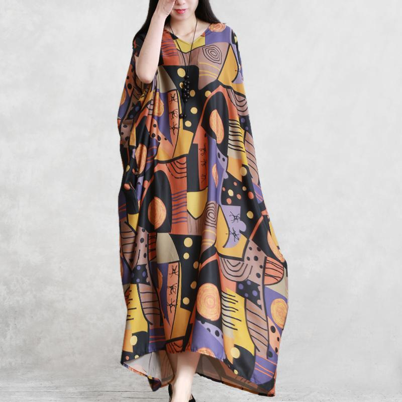 Style orange print dress v neck batwing sleeve Maxi summer Dress