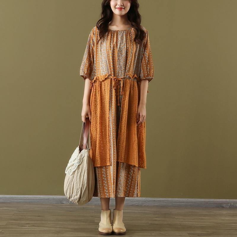 Style orange print linen cotton dress o neck false two pieces long summer Dress
