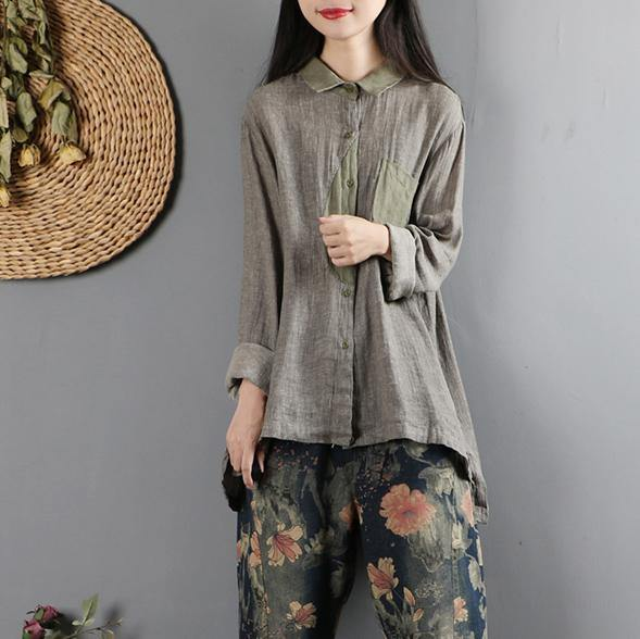 Style patchwork cotton fall tunic top Neckline gray green top