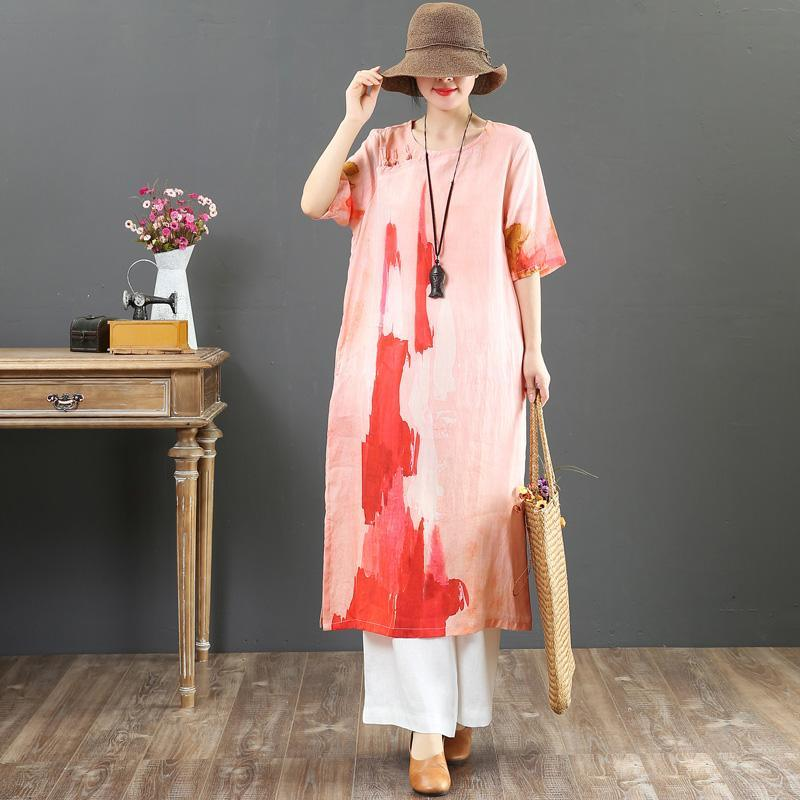 Style pink print linen dresses plus size Online Shopping o neck side open long Summer Dress