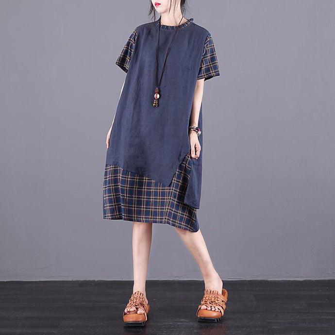 Style pockets false two pieces linen Wardrobes Sewing blue Plaid Dresses summer