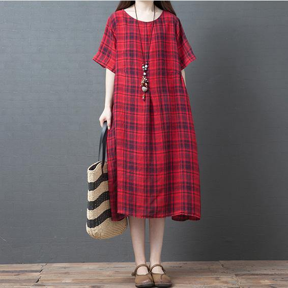 Style red Plaid linen cotton dress pockets o neck short summer Dress
