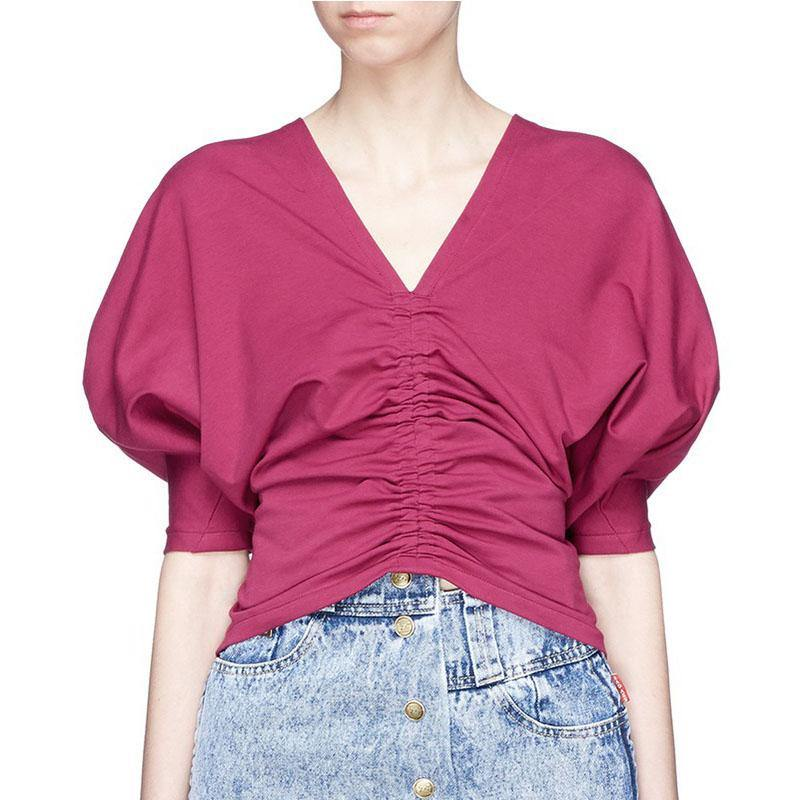 Style red cotton clothes v neck oversized summer blouse