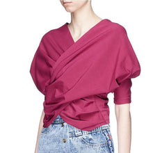 Load image into Gallery viewer, Style red cotton clothes v neck oversized summer blouse