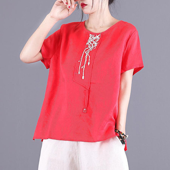 Style red embroidery linen blouses for women o neck patchwork Midi summer tops