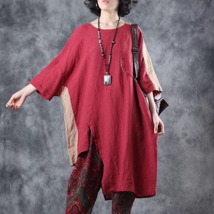 Style red linen clothes For Women o neck patchwork loose summer shirt
