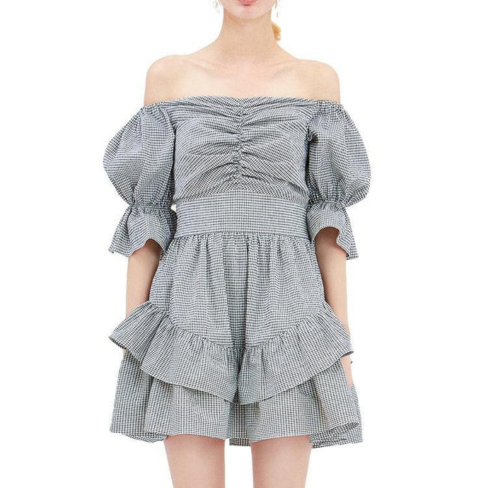 Style ruffles Cotton outfit Work Outfits Slash neck off the shoulder Dress summer