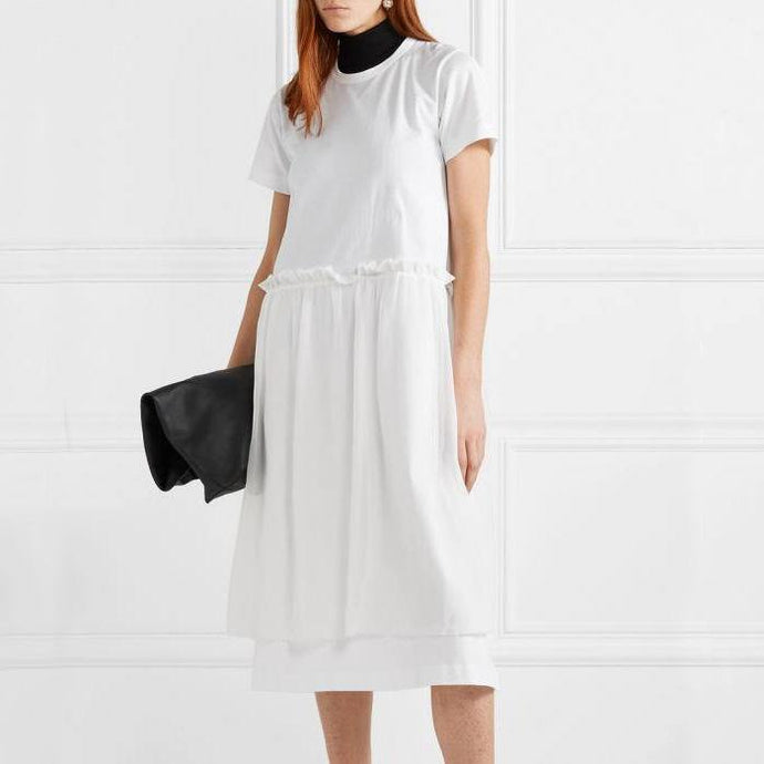 Style ruffles waist cotton clothes Runway white Traveling Dress summer