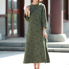 Load image into Gallery viewer, Style side open cotton spring dress Outfits green jacquard long Dresses