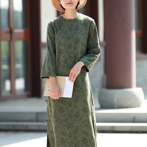 Style side open cotton spring dress Outfits green jacquard long Dresses
