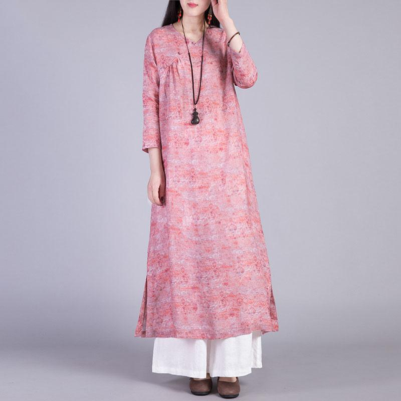 Style side open linen outfit Fabrics pink prints v neck Dress fall