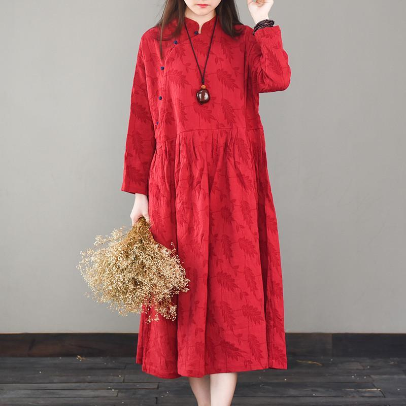 Style stand collar linen spring clothes For Women Fashion Ideas red Dresses