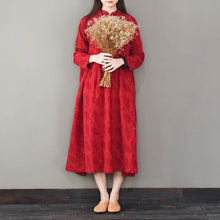 Load image into Gallery viewer, Style stand collar linen spring clothes For Women Fashion Ideas red Dresses