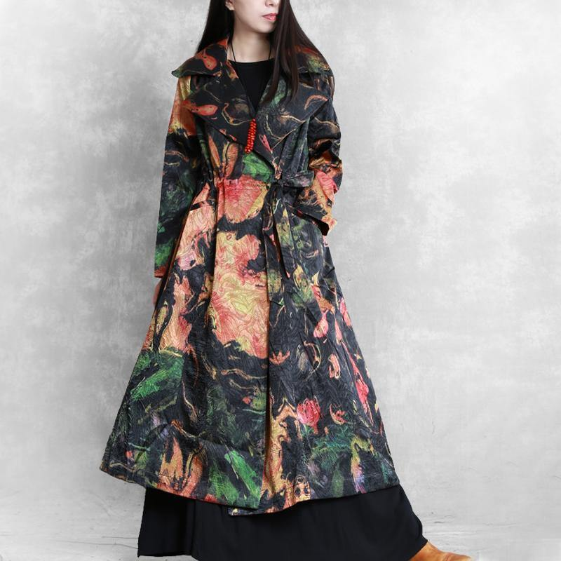 Style tie waist Fashion Coats Women black prints Knee outwear fall
