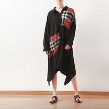 Load image into Gallery viewer, Style v neck patchwork cotton clothes Women Fashion Sleeve black Plaid A Line Dress