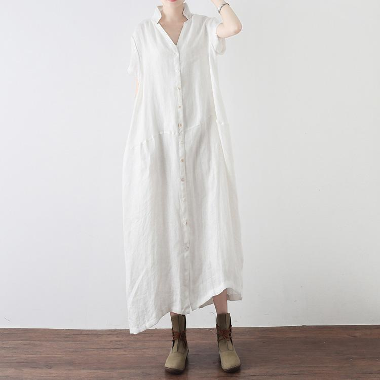 Style white Jacquard linen clothes Omychic Fashion Ideas Button Down Plus Size Dress