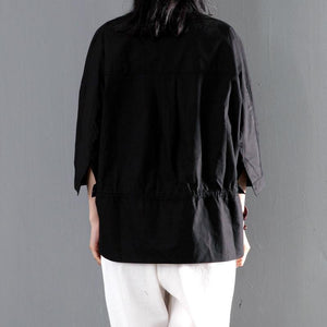 Stylish high neck cotton women shirt long sleeve blouse short summer top