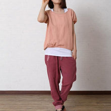 Laden Sie das Bild in den Galerie-Viewer, Stylish pink cotton women top shirt blouse