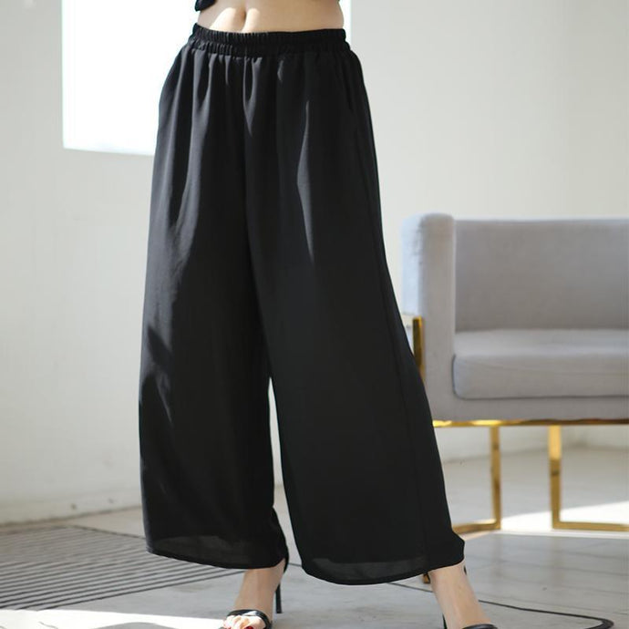 Summer Fashion linen Solid Black Female Wide Leg Pants