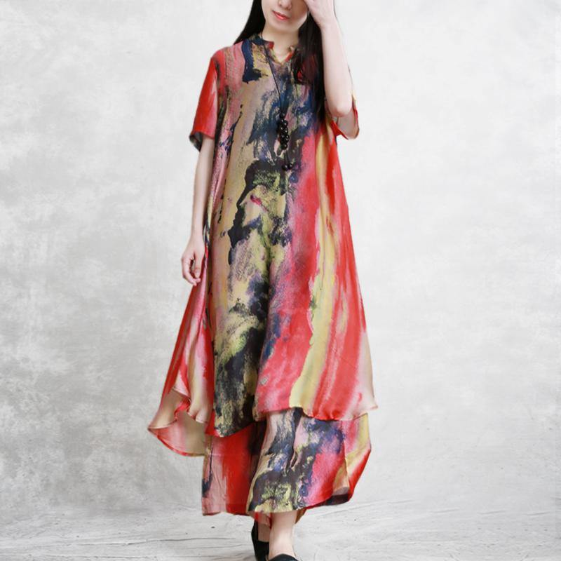 Summer new silky two-piece set of long T-shirt + nine pants