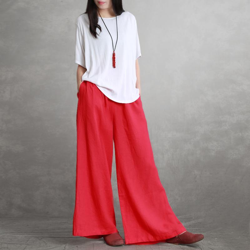 Summer thin red linen wide leg pants simple literary loose long pants