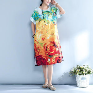 Summer Abstract Printed Straight Midi Dress