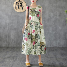 Load image into Gallery viewer, Summer Casual Plant Printed Sleeveless Dress