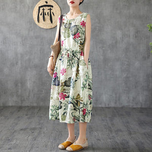 Summer Casual Plant Printed Sleeveless Dress